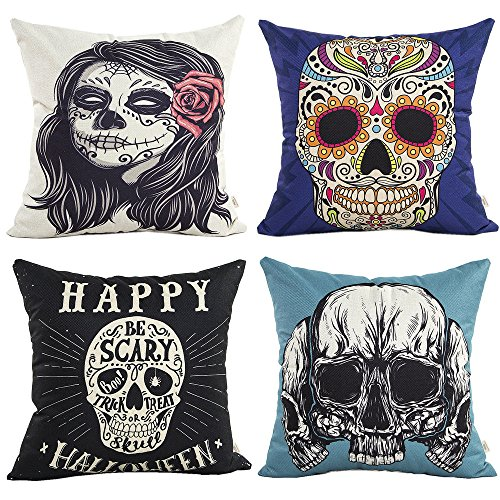 HOSL 4 Pack PW07 Happy Halloween Decorative Pillow Cover Case 18' X 18'