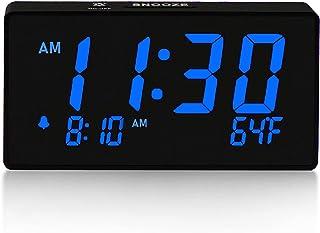 BOCTOP Desk Digital Alarm Clock, Large Numbers Blue 6
