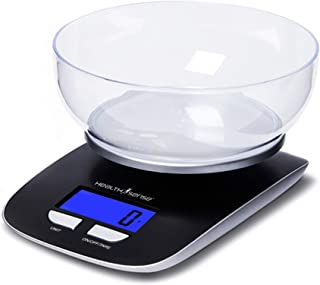 HealthSense Chef-Mate KS 33 Digital Kitchen Scale and Food Scale with Detachable Bpa Free Bowl and Tare Function (Dark Black)