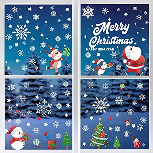 Yangte, 166 adesivi natalizi per vetro riutilizzabili per finestre, fiocchi di neve, renna, albero di Babbo Natale, in PVC, per decorazioni natalizie e invernali, 8 fogli