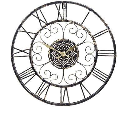 RANRANJJ 産業ロフト金属の装飾の柱時計、円形の装飾的な金属の苦しめられた鉄のローマ数字の時計の水晶動き無声掃引の柱時計