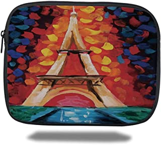 Juzijiang Tablet Bag for iPad Air 2/3/4/mini 9.7 Inch,Eiffel Tower,Eiffel Tower Paris France Romantic Night with Colorful Lights Oil Painting, Bag