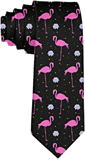 Casual Men's Tie Necktie Gift, Exotic Bird Pink Flamingos Skinny Long Ties for Trade Meeting Conference