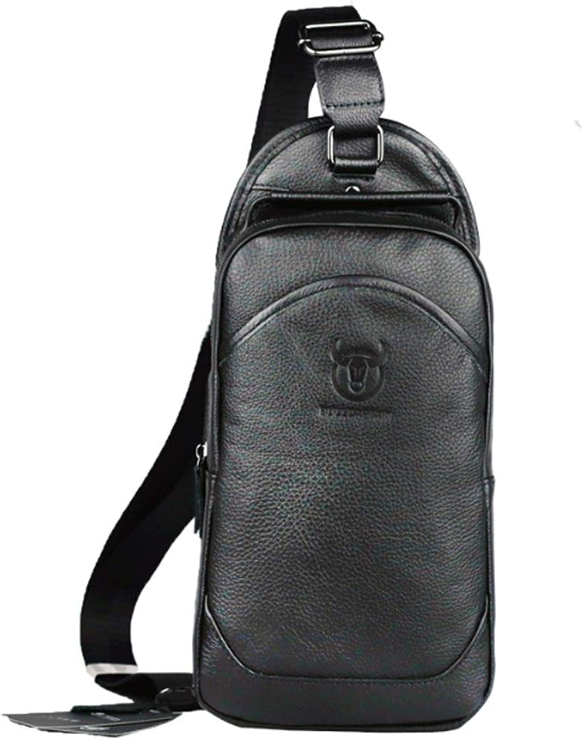 Men's Chest Bag Portable Leather Chest Bag Leather Shoulder Slungs Casual Sports Front Backpack Large Capacity