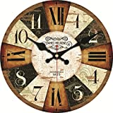 MEISTAR Big 16 Inch Colorful Wooden Wall Clocks,Large Numerals Rustic Country Tuscan Style Wall Clock Decorate Living Room, Office,Cafe and Coffee Bar