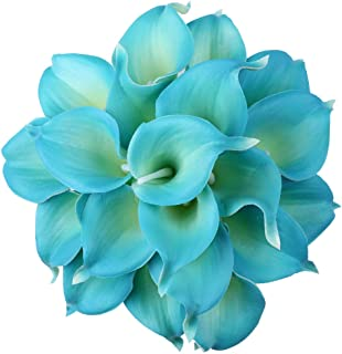 blue stargazer lily wedding bouquet