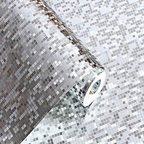 WH Blassgold-Folien-Mosaik-Hintergrund-Aufflackern-Tapeten-Moderne Rolle/Hotel-Decke/dekorative Tapeten-Rolle Blassgold-Farbe (Color : Silver)