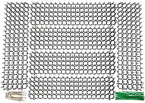 Plai 6 x Flat Prickle Strip Dig Stopper, Cat Repellent Mat, Scat Mats, Wild Animal Digging Deterrent with 12 Garden Staples and 30 Twist Tie