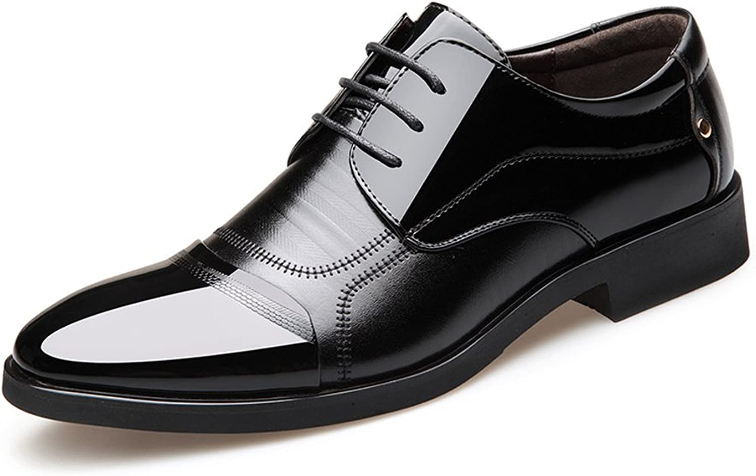 CHENXD shoes, Men's Fashion Burnished Smooth PU Leather Splice Vamp Lace Up Block Heel Lined Oxfords Formal Business shoes