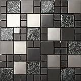 1qm tessere di mosaico in vetro e acciaio inox Matte in Nero e argento 30cm x 30cm X 8mm Tappetini (mt0002M2)