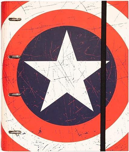 Erik - Classeur A4 4 Anneaux - Marvel Captain America | Classeur Rigide | Fournitures Scolaires, Fournitures de Bureau