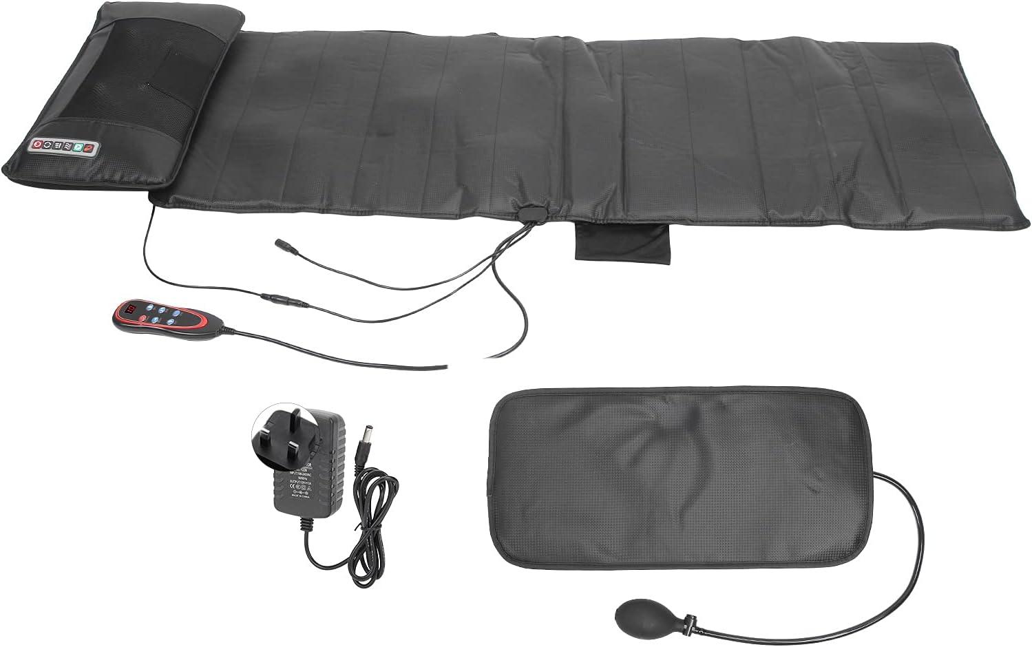 Almohadilla de calefacción y masaje para alivio del dolor de cuello y hombros, 9 engranajes vibrantes, cojín de colchón de masaje para espalda lumbar