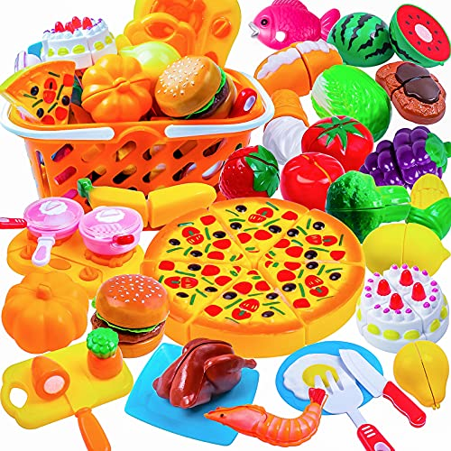 DigHeath Pretend Play Food Set,Kitchen Cutting Toys,BPA Free Plastic Fruits & Vegetables for Kids with Realistic Basket,Knife and Chopping Board,Best Children Educational Play Set