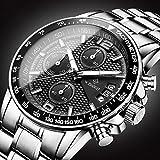 xiaoxioaguo Orologio sportivo da uomo di lusso cronografo cinturino in pelle cinturino in acciaio orologio al quarzo impermeabile luminoso orologio da uomo grande quadrante orologio