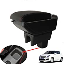 SZSS-CAR Leather Car Center Console Armrest Box for Suzuki Swift 2008 2009 2010 2011 2012 2013 2014 2015 2016 2017 Armrests Storage Box(Black)