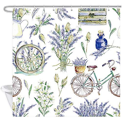 ABRAN Aquarell Realistische Fahrrad Duschvorhang Floral Provence Retro Fahrrad Lavendel Holz Polyester Wasserdicht Maschinenwaschbar Mit 12 Haken Für Badezimmer