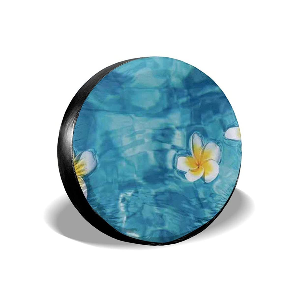 Tire Cover Tropical Frangipani Flower Floating In Water Pool Summertime Ecofriendly Polyester Universal Spare Wheel Tire Cover Wheel Covers Jeep Trailer RV SUV Truck Camper Travel Trailer Accessories(