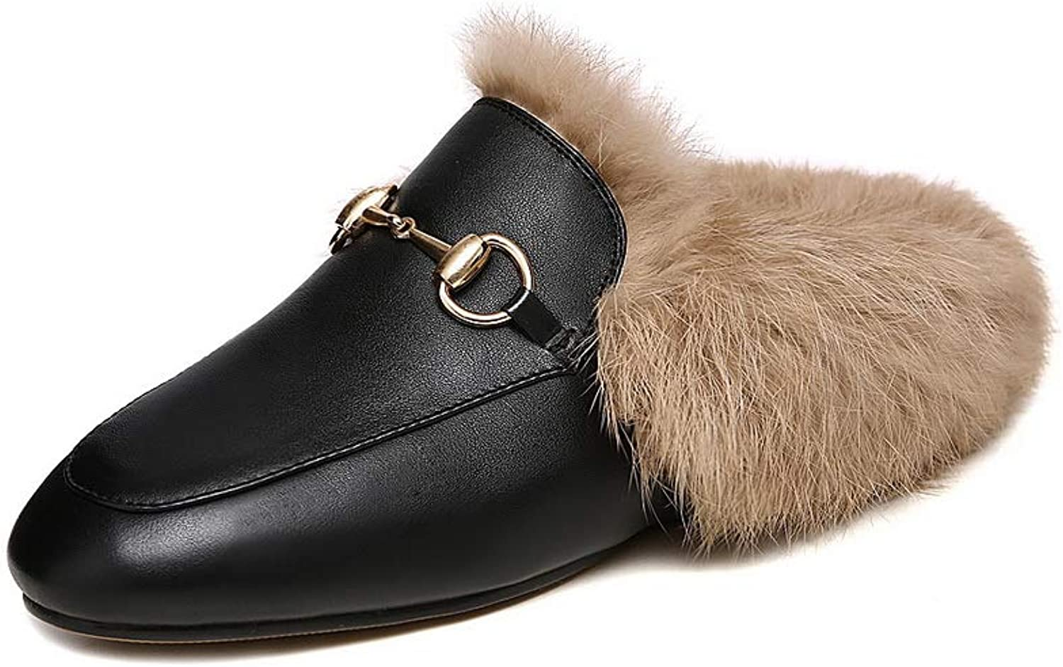AN Womens Metal Buckles Fur Collar Cow Leather Loafers shoes DGU00997