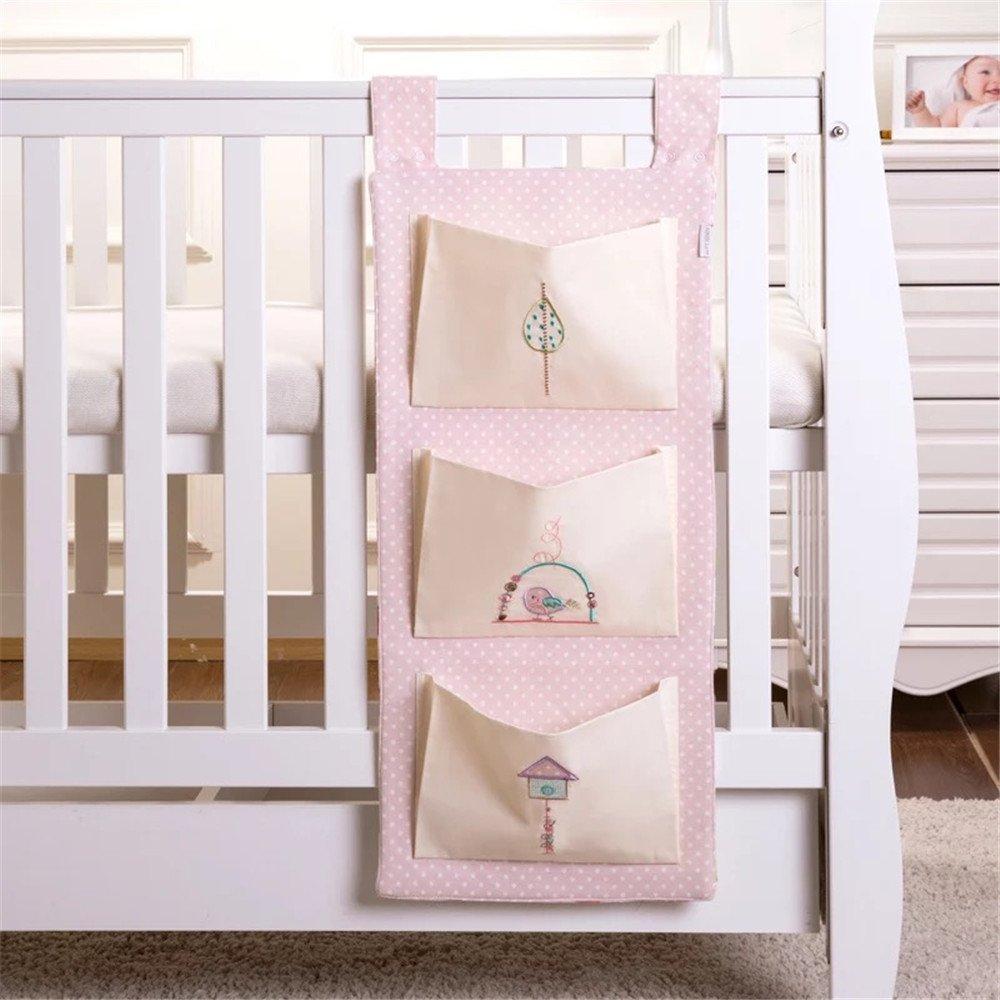 AUSTTBABY婴儿收纳床包整理袋 婴儿床3层挂袋尿不湿收纳包 3D刺绣婴儿用品收纳袋 宝宝用品收纳袋 新生儿用品储物袋收纳床包 大容量婴幼儿母婴用品存放包