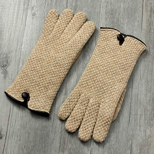 Winter Gloves Knitted Gloves Ladies Double Skin Touch Screen Warm Cashmere Gloves (Color : White, Size : One Size)