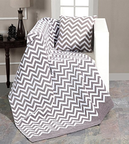 EHC Luxury Chenille Chevron Sofa Throw Arm Chair Covers Single Blanket, 130x 170cms - Grey/White
