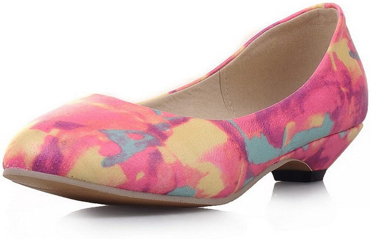 WeenFashion Women's Pull On Low Heels Pu Assorted color Round Closed Toe Pumps-shoes