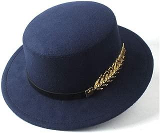 HaiNing Zheng Men Women Flat Top Hat With Belt Fedora Hat Trilby Hat Jazz Hat Casual Church Size 56-58CM