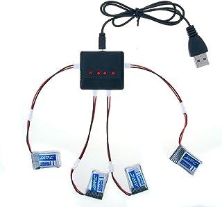 kingtoys® RC Drone Batería 4pcs 3.7V 150MAH Batería y 4 en 1 Cargador Cable