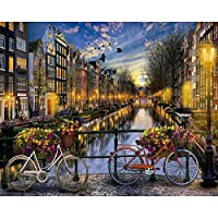 大人のためのダイヤモンド塗装キットアムステルダムは家、オフィスの装飾のための5Dフルドリルクロスステッチ塗装キットが大好きです 30x40cm