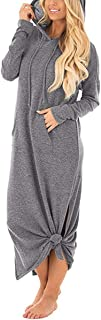 GIKING Women's Casual Pockets Hoodies Long Sleeve Split Hooded Long Maxi Dress