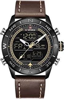 NAVIFORCE Mens Waterproof Sport Watches Leather Digital Analog Watch Luxury Casual Dual Time Wristwatch