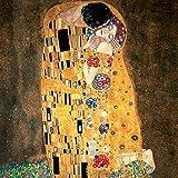 Impresión sobre lienzo con bastidor de madera de Gustav Klimt «El beso», 60x 60cm