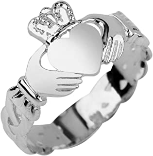 Ladies 10k White Gold Claddagh Ring with Trinity Band
