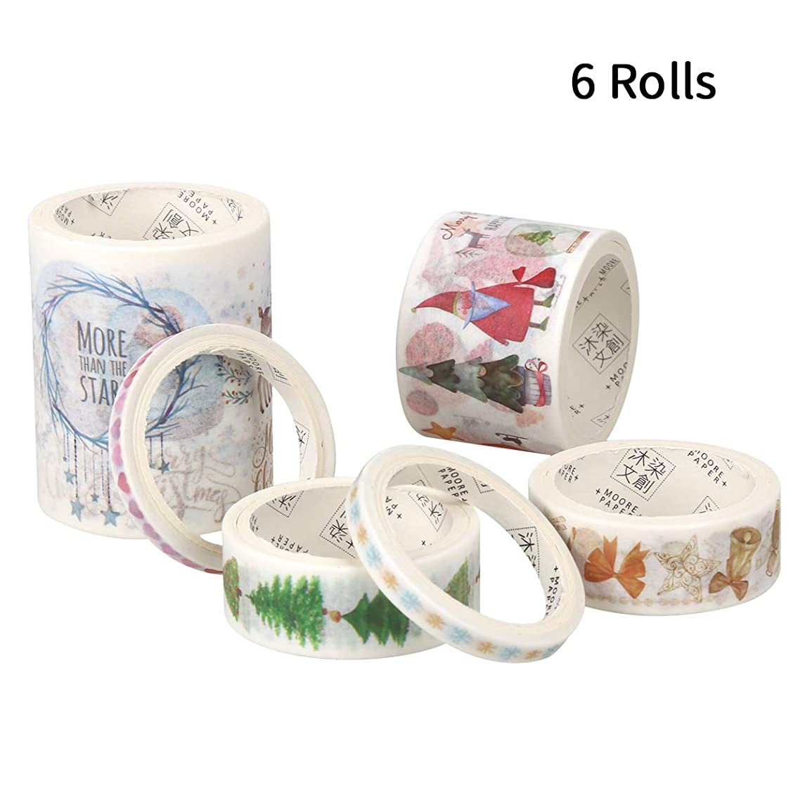 Christmas Washi Tape Set of 6 Rolls, Cute Masking Tape Xmas Holiday Decorations for Scrapbooking Art Crafts & Gifts Wrapping