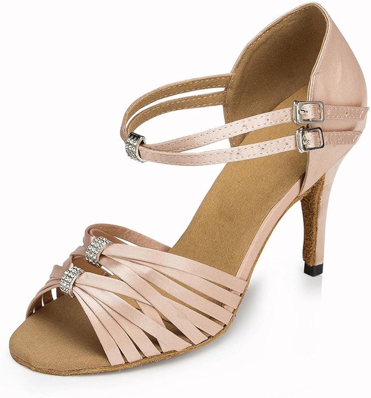 Monie Women's Elegant Crystal Buckle Practice Modern Salsa Ballroom Latin Dance Strappy shoes