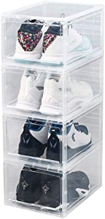 Plastic Shoe Box 4 Pack, Transparent Storage Shoes Container, Acrylic Sneaker Box Foldable Stackable Clear Organizer Displ...