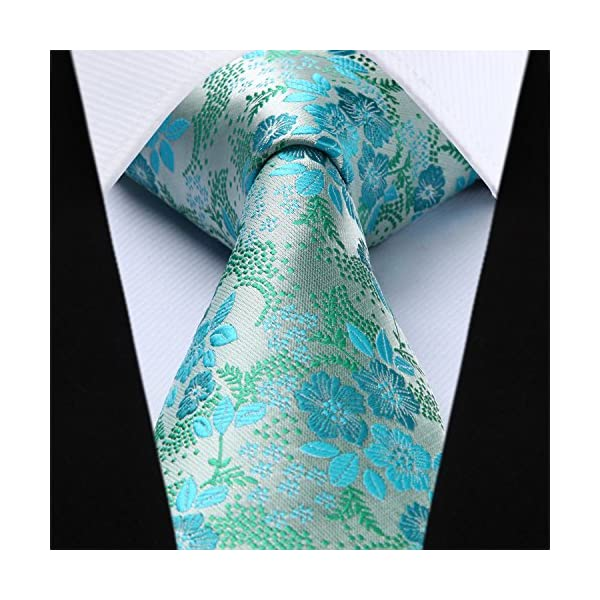 BIYINI Mens Tie Floral Necktie and Pocket Square Set for Wedding Party