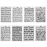 BUDDE Pack of 8 Plastic Alphabet Letter Number Drawing Painting Stencils Scale Template Sets for Bullet Journal Stencil Planner/Scrapbook/DIY Painting Craft Projects