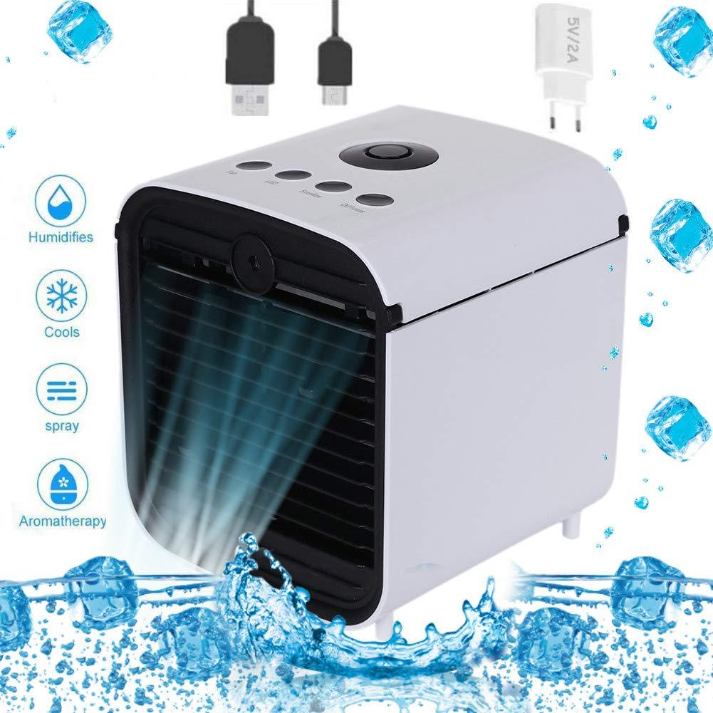 Diker Aire Acondicionado, Mini 3 en 1 Personal Enfriador de Aire Purificador de Aire Humidificador y Purificador, USB Ventilador Escritorio con 3 Velocidades y 7 Colores LED Luz de la Noche: Amazon.es: Hogar