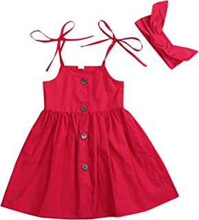 1-6 Years Toddler Baby Girls Summer Button Strap Dress Princess Sundress