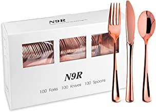 N9R 300 Rose Gold Plastic Silverware - Plastic Cutlery Set -100 Forks, 100 Spoons, 100 Knives Disposable Rose Gold Cutlery...