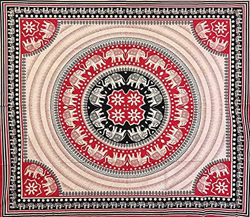 Funda para sofá étnica Elephant Love Arenado 100% algodón 210 x 230 cm sin flecos Batik oriental toalla de playa (rojo)