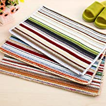 Polyester Colorful Striped Mat Bath Rug Foot Pad Carpet for Kitchen Indoor Rugs Bathroom Mats