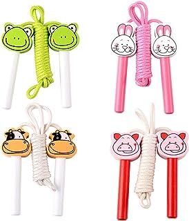dancepandas Rep hoppa trä bomull 4 st skidrep trä hopprep barn Speed Rope Jump Rop med Cartoon trähandtag för pojkar och f...
