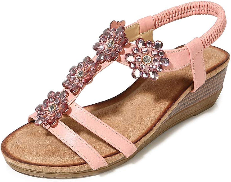 Navoku Leather Beaded Flowers Outdoor Wedge Sandles Women Sandals