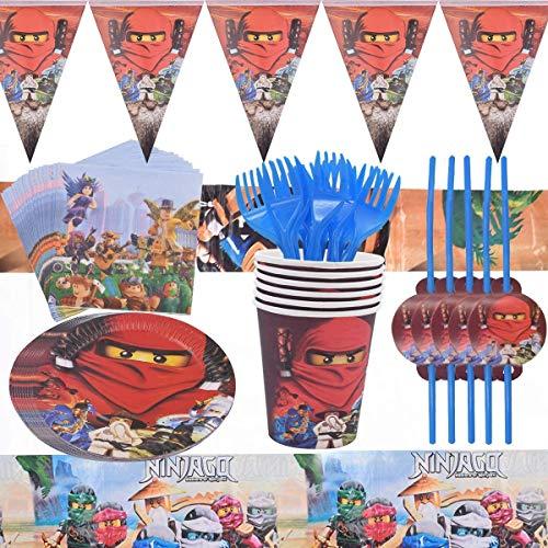 FGen Fiestas de Cumpleaños Decoracion, Fiesta Cumpleaños Infantil, 62 Piezas Ninja Vajilla Desechable, que Incluyen Platos, Tazas, Tenedores, Banderines, Pajitas, Toallas de Papel, Manteles
