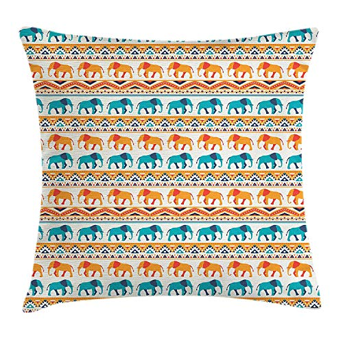 FAFANI Elephant Throw Pillow Cushion Cover, Horizontal Borders with Exotic Animals Ethnic Geometric Orient Design, Decorative Square Accent Pillow Case, 18 X 18 inches, Turquoise Orange Cream