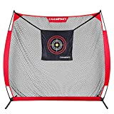 Champkey RTN 7' x 7' Golf Hitting Net | Heavy-Duty Steel Frame and 5 Ply-Knotless Netting Practice Golf Net | Choose Between Practice Net and Practice Net with Mat