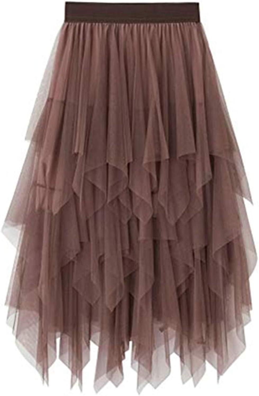 Women's Sheer Tutu Skirt Tulle Knee Length A Line Mesh Layered Midi Skirt