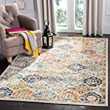 Safavieh Madison Collection MAD611B Boho Chic Floral Medallion Trellis Distressed Non-Shedding Living Room Bedroom Accent Area Rug, 4' x 6', Cream / Multi
